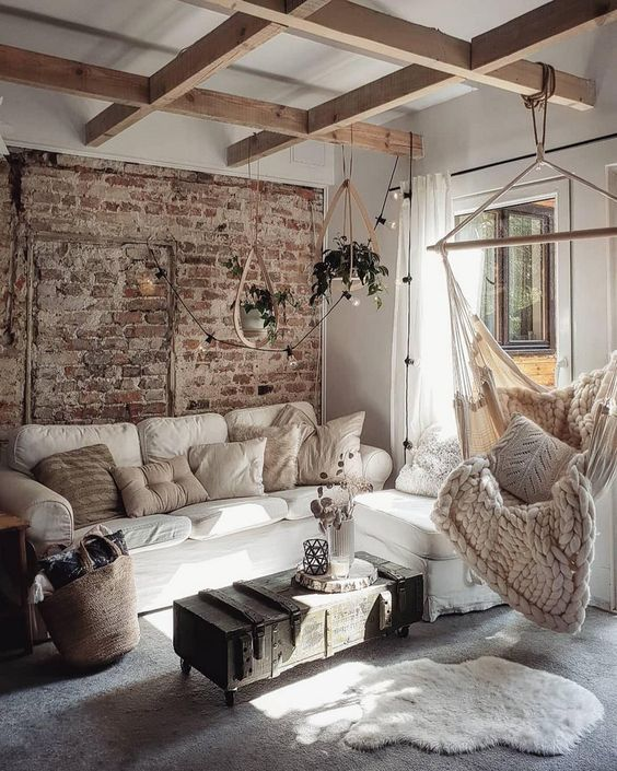 ambiente cosy cocooning con materiali naturale